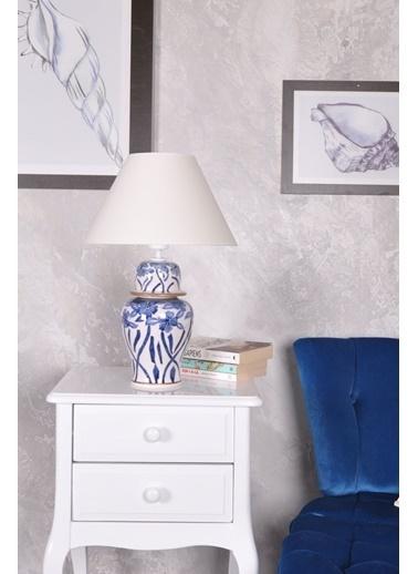 Qdec qdec Bleu Blanc Şah Vazo Abajur Çiçekli Yaldız K.Beyaz Beyaz
